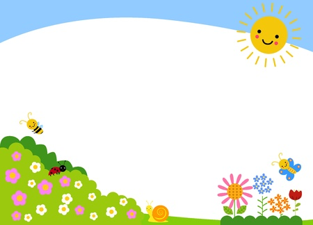flowers cartoon: Cute spring background Illustration