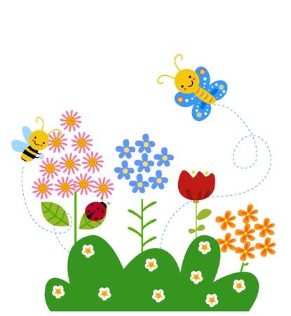 mariposas amarillas: mariposa y abeja volando sobre las flores Vectores
