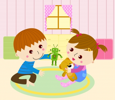 brother and sister cartoon: Two babys playing with their toy