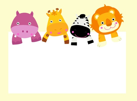 animal border: cartoon animal card