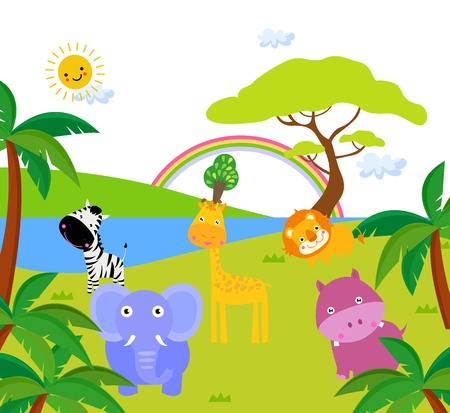 tall grass: African landscape and animals - vector illustration