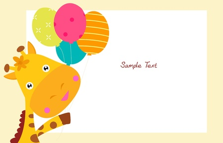 Cute giraffe and balloon  Vector