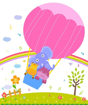 white bacground: giraffe,hippo and elephant in colorful hot air balloon  Illustration