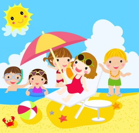 People on beach  Vector