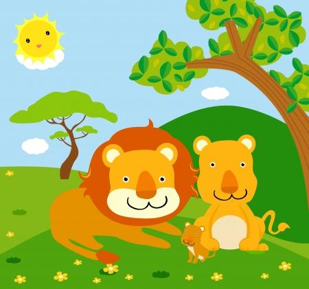 hijos: familia león, animales salvajes