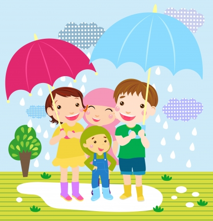 Happy girls and boys on meadow in rain  Stock Vector - 16333209