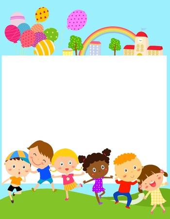los niños y el marco Ilustración de vector