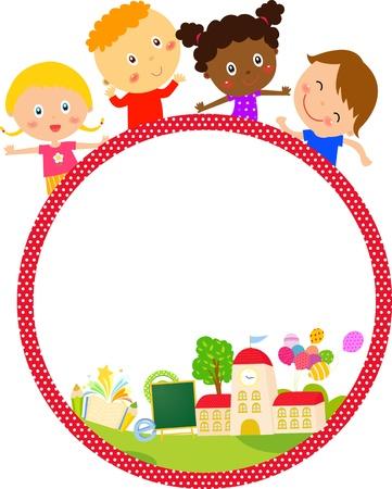Enfants et cadre vecteur Banque d'images - 24013608