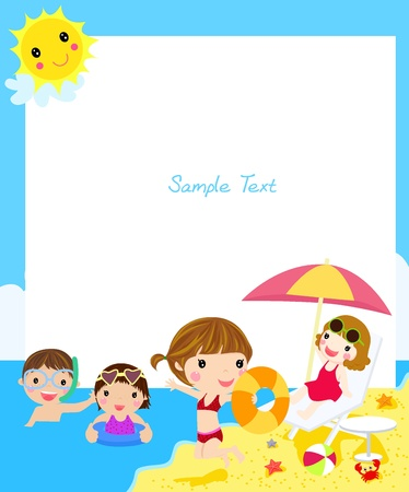 young boy beach: kids on beach  Illustration
