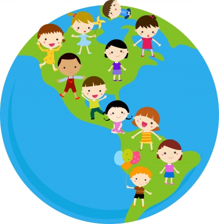 Kids On The Globe  Vector