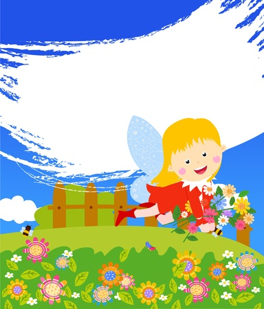 fairy and flower  Vector