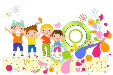 children at play: Group of children having fun