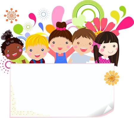 Groep kinderen plezier Stock Illustratie