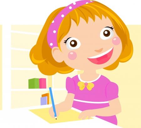 practice primary: Little girl writing