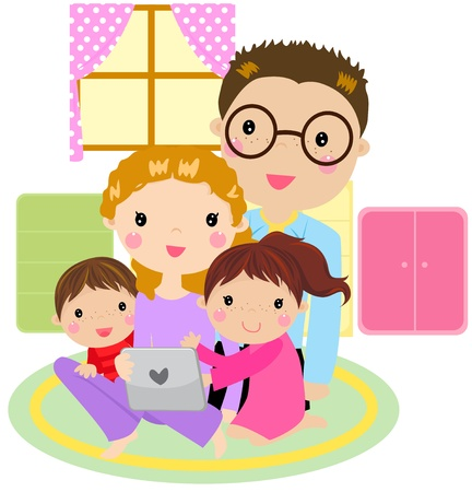 family at home having fun using a tablet computer -vector Stock Vector - 21152137