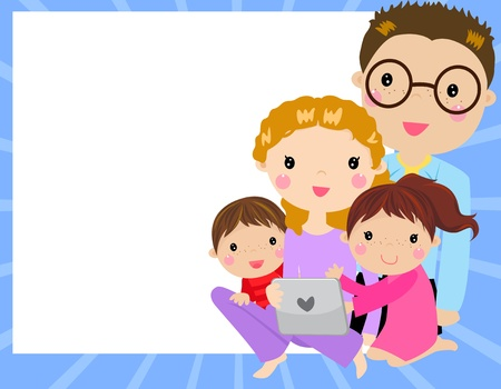 woman tablet: family at home having fun using a tablet computer -vector