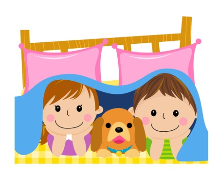 kids and dog in the quilt Illustration