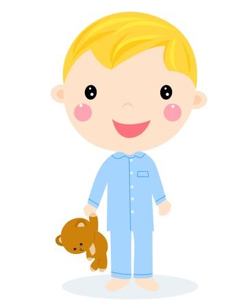 pijama: Un niño pequeño con osito de peluche