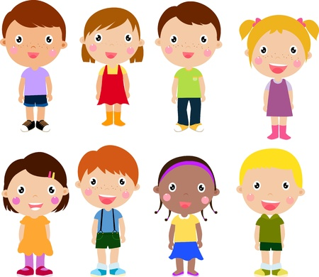 animated boy: Group of children