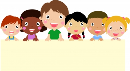 子供とバナーのグループ