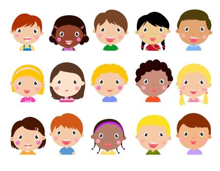 ecole maternelle: Groupe d'enfants Illustration