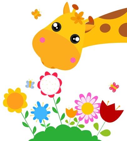 キリンと花のベクトル図