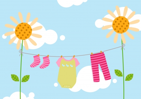 The Kids Clothesline Best Kids Clothesline Royalty Free Cliparts Vectors And Stock