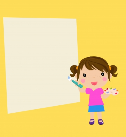 Beautiful little girl painting Vector
