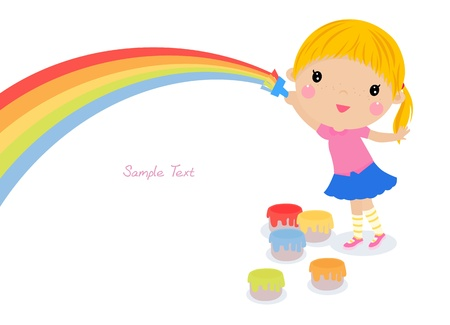 Little artist - cute girl painting Vector