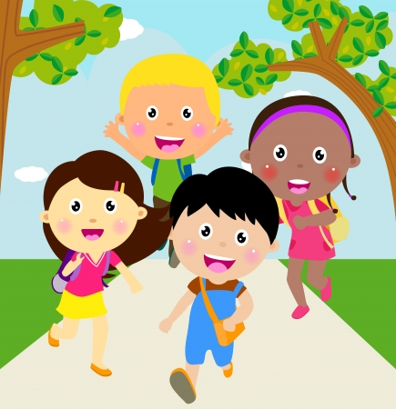 Back to school  Running kids  Vector