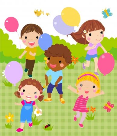 Grupo de niños jugando