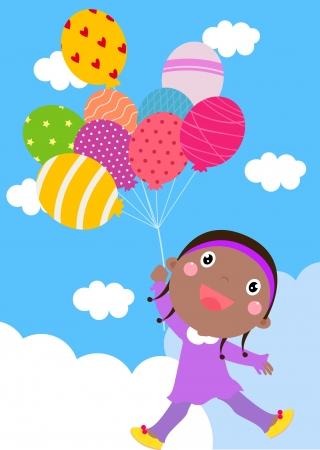little girl and balloon Vector