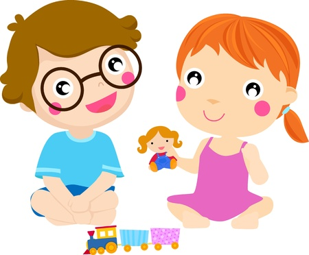 cute happy kids playing, cartoon concept Vector