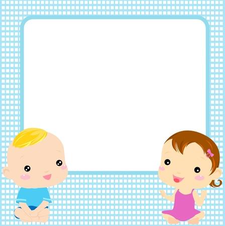 Baby Boy And Girl Vector