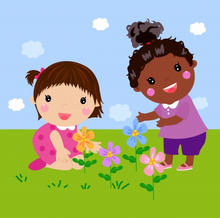 kids and flower Vector
