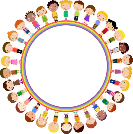 preschool child: kids and rainbow Illustration