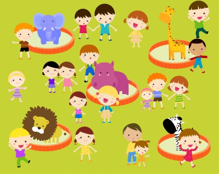 Group of kids having fun -kids in the zoo Vector