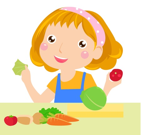 A little girl and vegetable Vector