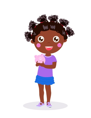 Little girl holding piggy bank Vector