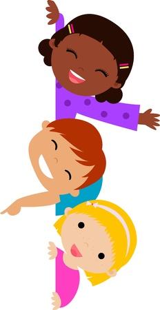 Marco de chicos lindos dibujos animados Foto de archivo - 23859621