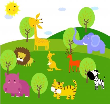 tigre caricatura: animales lindos en el bosque