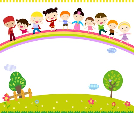 young schoolchild: Group of kids and rainbow