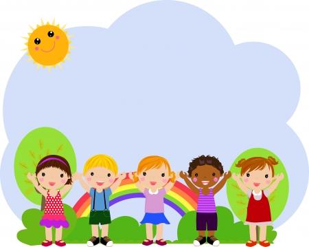 enfants qui jouent: Groupe d'enfants Illustration