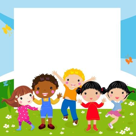 Kids and frame Banco de Imagens - 22246561