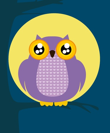 Owl sat on a tree Vector