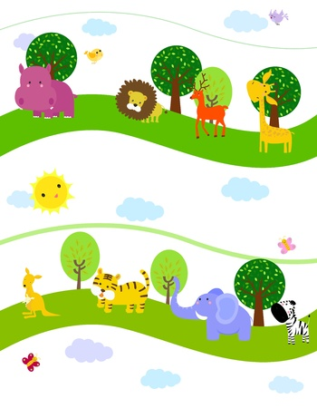 Group of animal wallpaper Vector