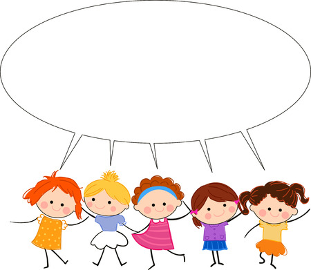 Kids and talking frame Stock Vector - 24517775