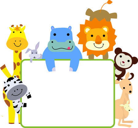 animals and frame Vector