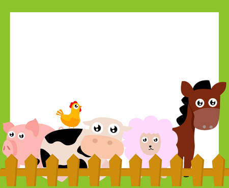 farm animals frame Vector