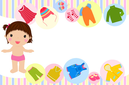 kid shopping: Cute girl and her clothes Illustration